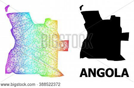 Wire Frame And Solid Map Of Angola. Vector Model Is Created From Map Of Angola With Intersected Rand