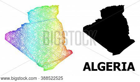 Net And Solid Map Of Algeria. Vector Structure Is Created From Map Of Algeria With Intersected Rando