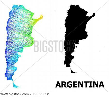 Net And Solid Map Of Argentina. Vector Structure Is Created From Map Of Argentina With Intersected R