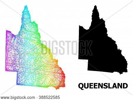 Network And Solid Map Of Australian Queensland. Vector Model Is Created From Map Of Australian Queen