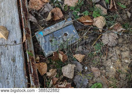 Audio Cassette In A Landfill. Old Audio Cassette In The Grass.