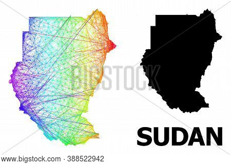Net And Solid Map Of Sudan. Vector Model Is Created From Map Of Sudan With Intersected Random Lines,