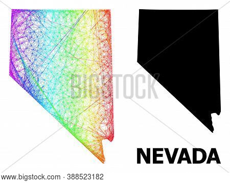Wire Frame And Solid Map Of Nevada State. Vector Model Is Created From Map Of Nevada State With Inte