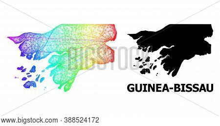 Net And Solid Map Of Guinea-bissau. Vector Model Is Created From Map Of Guinea-bissau With Intersect