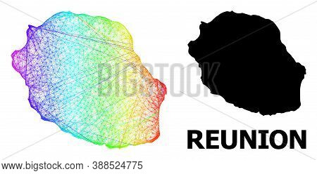 Wire Frame And Solid Map Of Reunion Island. Vector Model Is Created From Map Of Reunion Island With
