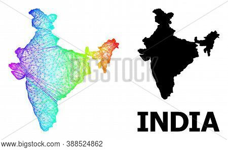 Wire Frame And Solid Map Of India. Vector Model Is Created From Map Of India With Intersected Random