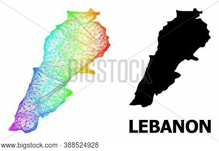 Network And Solid Map Of Lebanon. Vector Structure Is Created From Map Of Lebanon With Intersected R