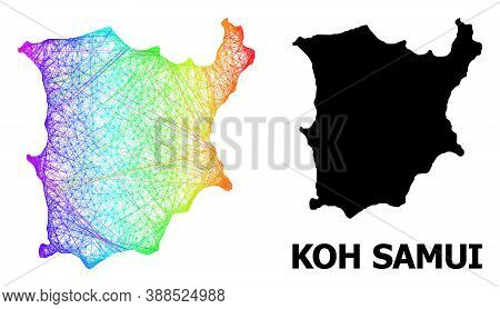 Wire Frame And Solid Map Of Koh Samui. Vector Structure Is Created From Map Of Koh Samui With Inters