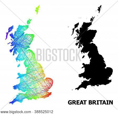 Wire Frame And Solid Map Of Great Britain. Vector Structure Is Created From Map Of Great Britain Wit