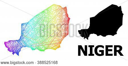 Wire Frame And Solid Map Of Niger. Vector Structure Is Created From Map Of Niger With Intersected Ra