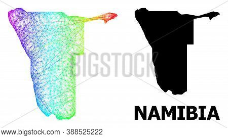 Net And Solid Map Of Namibia. Vector Structure Is Created From Map Of Namibia With Intersected Rando