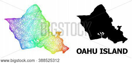 Network And Solid Map Of Oahu Island. Vector Model Is Created From Map Of Oahu Island With Intersect