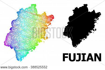 Network And Solid Map Of Fujian Province. Vector Model Is Created From Map Of Fujian Province With I