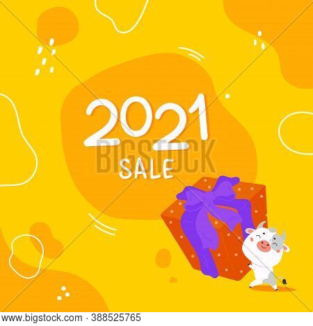Christmas Sale Design Template.2021 Sale.christmas Banner.xmas Cute Bull With Giant Gift And Abstrac