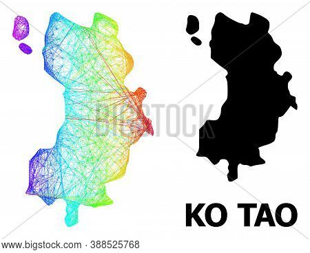 Wire Frame And Solid Map Of Ko Tao. Vector Structure Is Created From Map Of Ko Tao With Intersected
