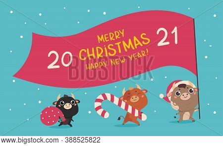 Christmas Sale Design Template.christmas Banner.xmas Cute Bulls With Giant Flag, Holiday Candy And B