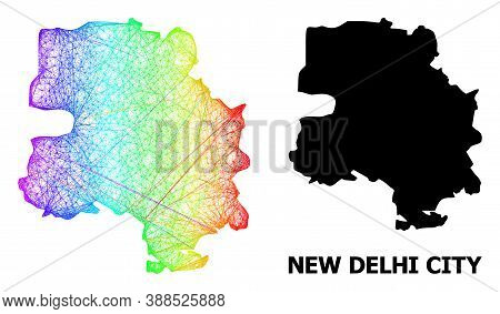 Net And Solid Map Of New Delhi City. Vector Model Is Created From Map Of New Delhi City With Interse