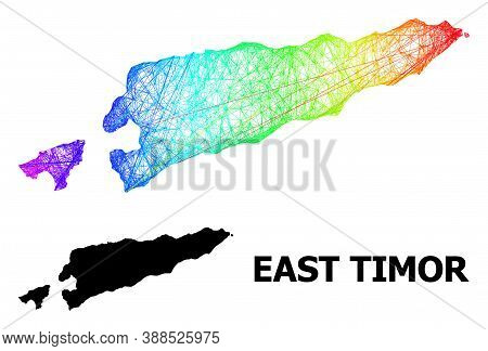 Wire Frame And Solid Map Of East Timor. Vector Model Is Created From Map Of East Timor With Intersec