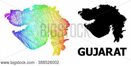 Wire Frame And Solid Map Of Gujarat State. Vector Structure Is Created From Map Of Gujarat State Wit