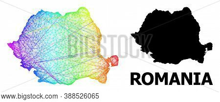 Net And Solid Map Of Romania. Vector Model Is Created From Map Of Romania With Intersected Random Li