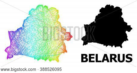 Wire Frame And Solid Map Of Belarus. Vector Structure Is Created From Map Of Belarus With Intersecte