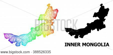 Net And Solid Map Of Inner Mongolia. Vector Structure Is Created From Map Of Inner Mongolia With Int