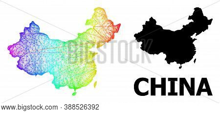 Network And Solid Map Of China. Vector Model Is Created From Map Of China With Intersected Random Li