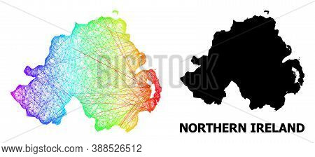 Wire Frame And Solid Map Of Northern Ireland. Vector Structure Is Created From Map Of Northern Irela