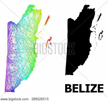 Wire Frame And Solid Map Of Belize. Vector Model Is Created From Map Of Belize With Intersected Rand