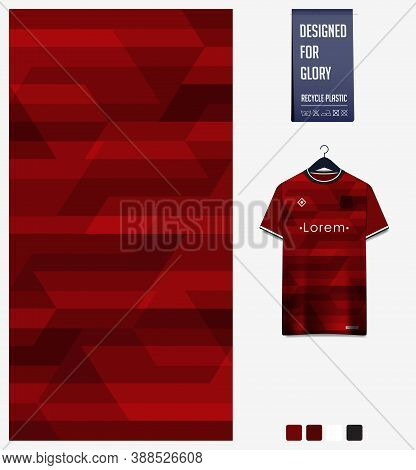 Fabric Pattern Design. Geometry Pattern On Red Background For Soccer Jersey, Football Kit, Bicycle,
