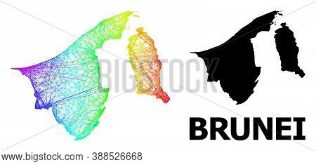 Network And Solid Map Of Brunei. Vector Model Is Created From Map Of Brunei With Intersected Random