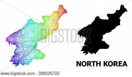Wire Frame And Solid Map Of North Korea. Vector Model Is Created From Map Of North Korea With Inters