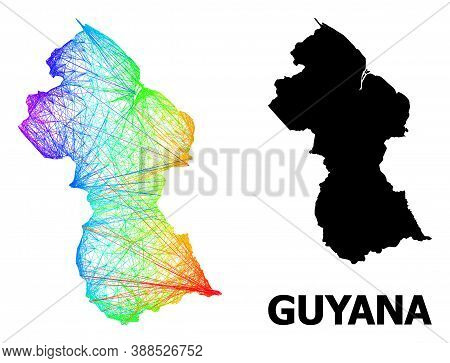 Net And Solid Map Of Guyana. Vector Structure Is Created From Map Of Guyana With Intersected Random
