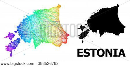 Net And Solid Map Of Estonia. Vector Model Is Created From Map Of Estonia With Intersected Random Li