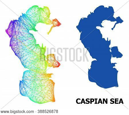 Wire Frame And Solid Map Of Caspian Sea. Vector Structure Is Created From Map Of Caspian Sea With In