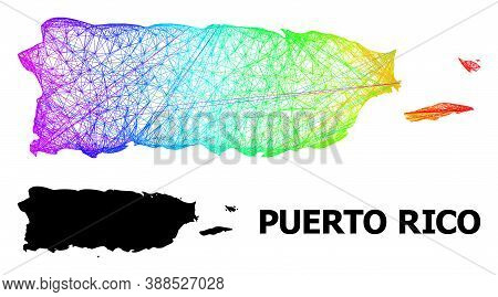 Wire Frame And Solid Map Of Puerto Rico. Vector Model Is Created From Map Of Puerto Rico With Inters