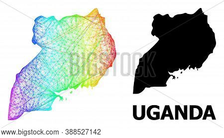 Net And Solid Map Of Uganda. Vector Model Is Created From Map Of Uganda With Intersected Random Line