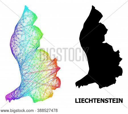 Wire Frame And Solid Map Of Liechtenstein. Vector Structure Is Created From Map Of Liechtenstein Wit