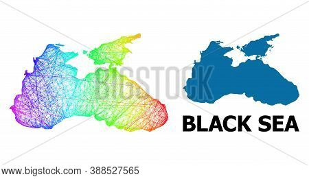 Wire Frame And Solid Map Of Black Sea. Vector Model Is Created From Map Of Black Sea With Intersecte