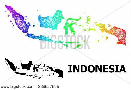 Wire Frame And Solid Map Of Indonesia. Vector Structure Is Created From Map Of Indonesia With Inters