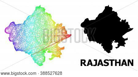 Network And Solid Map Of Rajasthan State. Vector Model Is Created From Map Of Rajasthan State With I