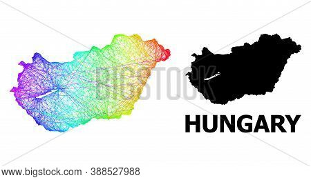 Wire Frame And Solid Map Of Hungary. Vector Model Is Created From Map Of Hungary With Intersected Ra