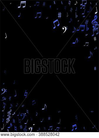 Blue Flying Musical Notes Isolated On Black Background. Fresh Musical Notation Symphony Signs, Notes