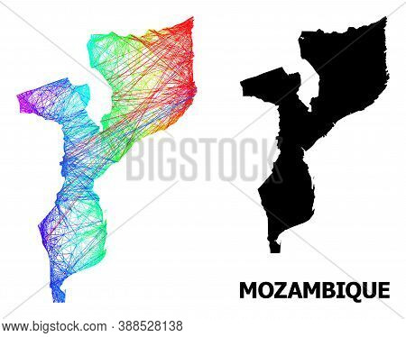 Network And Solid Map Of Mozambique. Vector Model Is Created From Map Of Mozambique With Intersected