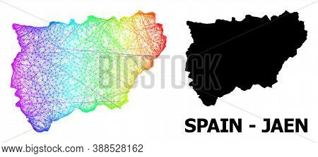 Wire Frame And Solid Map Of Jaen Spanish Province. Vector Model Is Created From Map Of Jaen Spanish