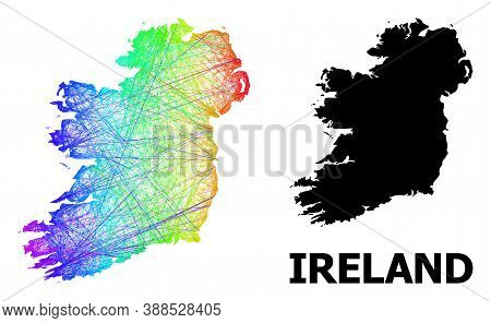 Network And Solid Map Of Ireland Island. Vector Model Is Created From Map Of Ireland Island With Int