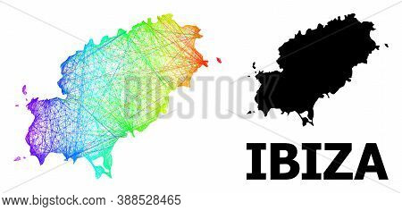 Net And Solid Map Of Ibiza Island. Vector Structure Is Created From Map Of Ibiza Island With Interse