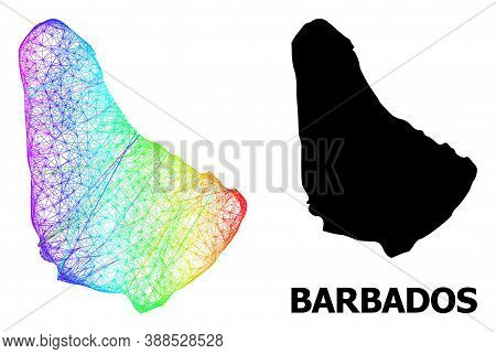 Wire Frame And Solid Map Of Barbados. Vector Structure Is Created From Map Of Barbados With Intersec