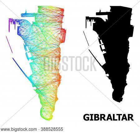 Network And Solid Map Of Gibraltar. Vector Model Is Created From Map Of Gibraltar With Intersected R