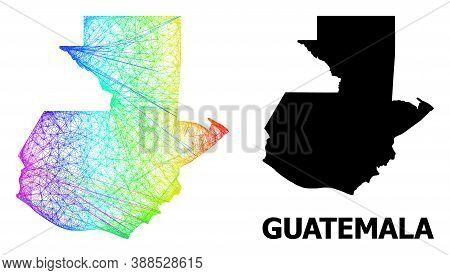 Network And Solid Map Of Guatemala. Vector Structure Is Created From Map Of Guatemala With Intersect